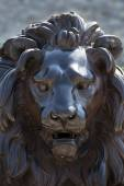 Face of a lion sculpture made of bronze,  Luebeck, Germany — Stock Photo