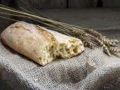 Ciabatta bread and wheat stalks on rustic wood — Stock Photo