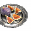 Figs on a silver plate isolated on white without shadow — Stock Photo #83840102