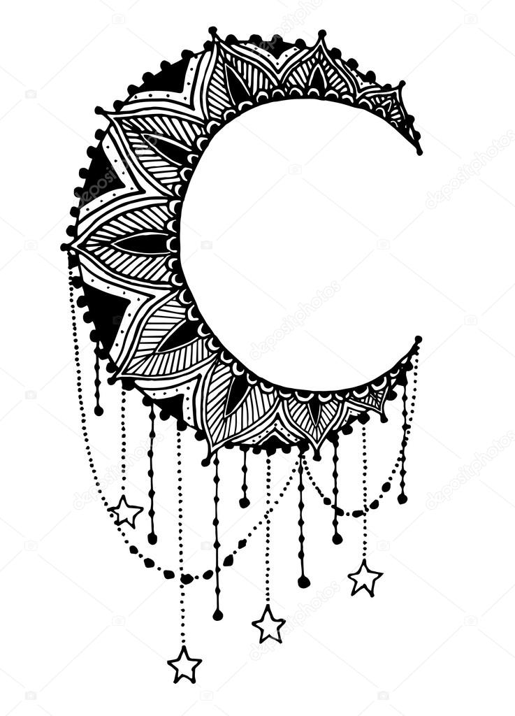 vector belle lune noire mandala l ment de design motifs amulette ethnique image. Black Bedroom Furniture Sets. Home Design Ideas