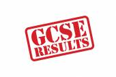 GCSE RESULTS red Rubber Stamp vector over a white background. — Stock Vector