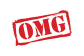 OMG red rubber stamp vector over a white background. — Vector de stock