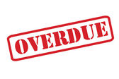 'OVERDUE' red rubber stamp vector over a white background. — Stock Vector