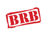 BRB red rubber stamp vector over a white background. — Stock Vector
