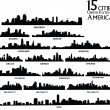 Set of vector  America cities silhouette — ストックベクタ #54095767