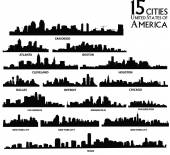 Set of vector  America cities silhouette — Stock Vector