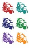 Colors vector protest gas mask set isolated on the white background — Stock Vector