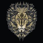 Tattoo vector sketch of a lion's face black background — Stock Vector