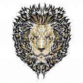 Tattoo vector sketch of a lion's face white background — Vector de stock