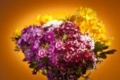 Colorful bunch of flowers with dahlia and zinnia — Stock Photo