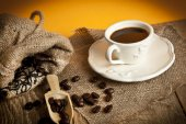 Turkish Coffee with yellow background on wooden table — Foto de Stock