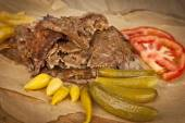 Doner Kebab - grilled meat, bread and vegetables shawarma sandwich — Stok fotoğraf