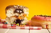 Glazed Chocolate Donut with Bite Missing — Stok fotoğraf