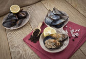 Stuffed Mussels, Midye Dolma mediterranean cuisine — Stock Photo