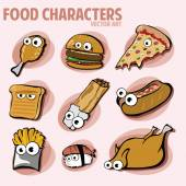 Funny Various Cartoon Fast Food Characters — Stock Vector
