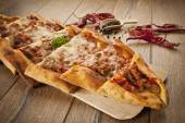 Turkish traditional beef and cheese Pide — Stock Photo