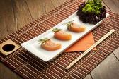 Salmon Sushi Lakerda concept Plate — Stock Photo