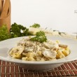 Tortellini italian style chicken cheese pasta — Stock Photo #55370677