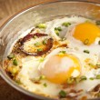 Turkish sausage sucuk with egg in copper pan turkish breakfast meal — Stock Photo #55477189
