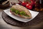 Turkish roasted meat ( kavurma ) sandwich — Stock Photo