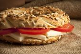 Turkish breakfast simit, cheese, cherry tomato bakery — Stock Photo