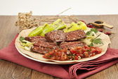 Grilled Turkish Sausage (Sucuk with Lavash) — Stock Photo