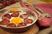 Turkish Sausage (sucuk) and egg — Stock Photo