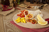 Meat beef tantuni is a kind of traditional turkish kebap — Stock Photo