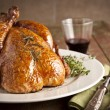 Grilled turkey and various vegetables on wooden plate for christmas and thanks giving day — Stock Photo #55753465