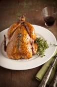 Grilled turkey and various vegetables on wooden plate for christmas and thanks giving day — Stock Photo