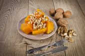 Turkish traditional Pumpkin Dessert ( kabak tatlisi ) — Stock Photo