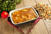 Baked Pasta fresh vegetable with cheddar cheese — Stock Photo