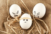 Eggs with human characteristics — Stock Photo