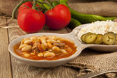 Hot turkish bean stew with a tasty tomato sauce and rice turkish pilav — Zdjęcie stockowe