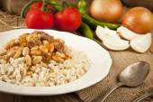 Hot turkish bean stew with a tasty tomato sauce and rice turkish pilav — 图库照片