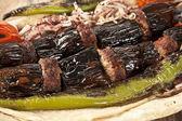 Turkish Kebab eggplant and meatballs — Stock Photo