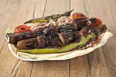 Turkish Kebab eggplant and meatballs — Photo