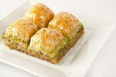Turkish Ramadan Dessert Baklava with white background — Stock Photo