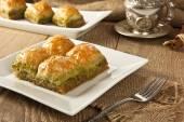 Turkish Ramadan Dessert Baklava with concept background — Stock Photo