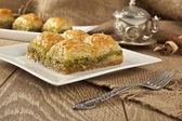 Turkish Ramadan Dessert Baklava with concept background — ストック写真