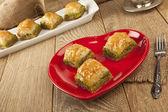 Turkish Ramadan Dessert Baklava with valentines day concept background — Stock Photo
