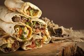 Turkish shawarma durum traditional sish kebab wrap — Stock Photo