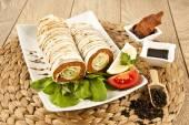 Cig kofte Durum Shawarma Turkish Food — Stock Photo