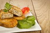 Turkish traditional Food kadinbudu kofte ( meatball ) rice and meat falafel — Stock Photo