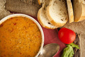 Yogurt soup with food background turkish soup — Stock Photo