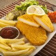 Fried Schnitzel Chicken and pork chop French fries and vegetables — Stock Photo #65835685