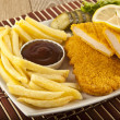 Fried Schnitzel Chicken and pork chop French fries and vegetables — Stock Photo #65859203