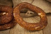 Turkish Ankara Simit Bagel with wooden background — Stock Photo