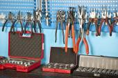 Different Car repair tools set on the wall — Stock Photo