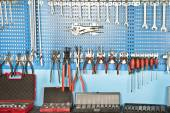 Different Car repair wrench tools set on the wall — Stock Photo